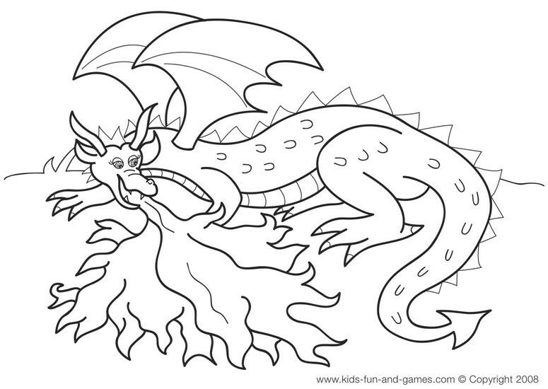 Fire breathing dragon | Graphics ♏❇ | Dragon coloring page ...