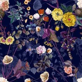 Botanical Flowers and Neon Night Garden Navy BlueYns00105 by ynsalkn design studio Seamless Repeat RoyaltyFree Stock Pattern garden photography Botanical Flowers and Neon...