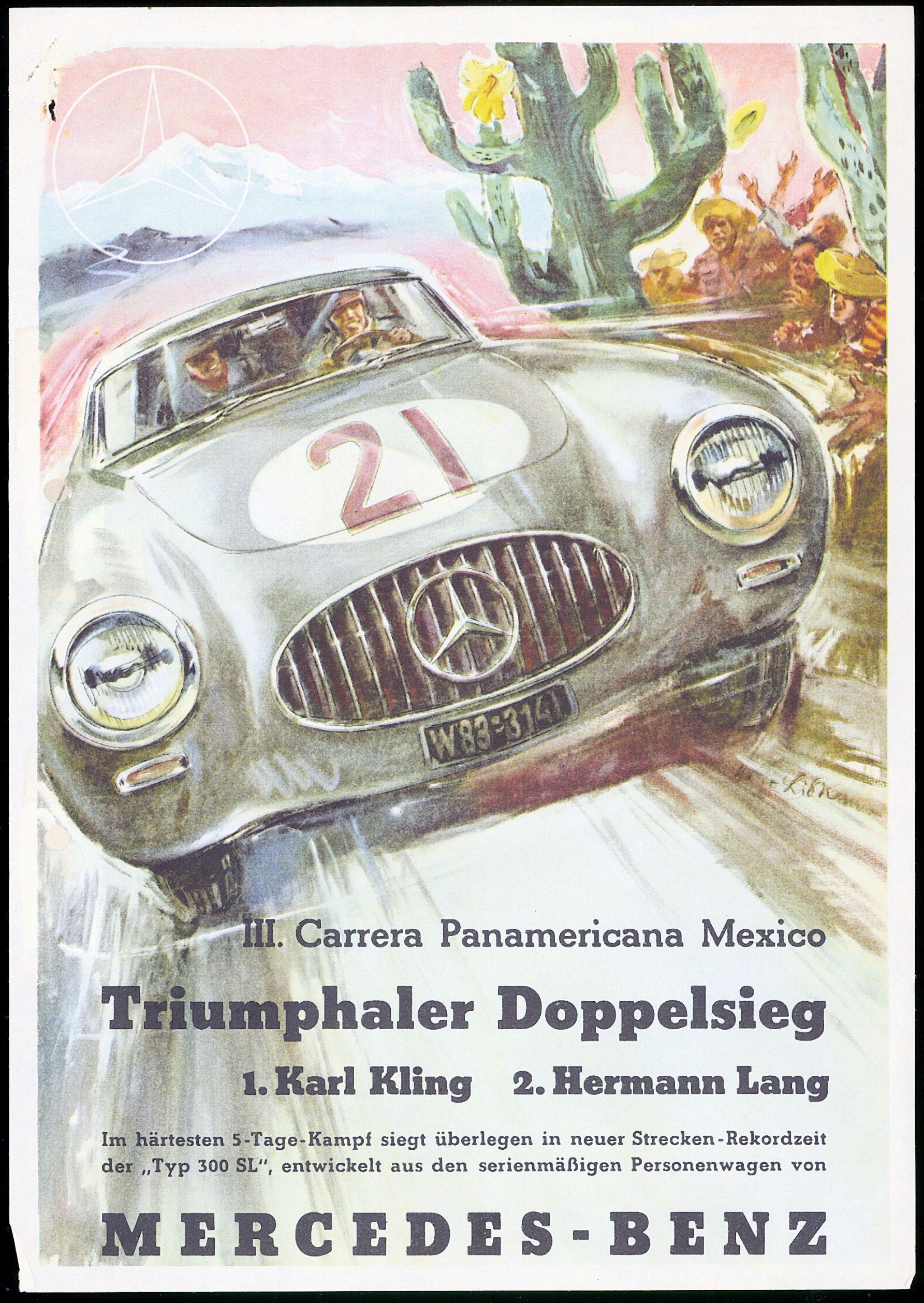 MERCEDES BENZ 300SL 1952 PAN AMERICANA MEXICO RACING POSTER A3  REPRINT