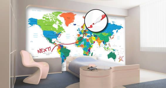 Dry Erase World Map Wall Decals Country Names | kids room | Wall ...