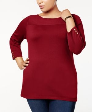 c70a8761a662c Karen Scott Plus Size Cotton Boat-Neck Sweater