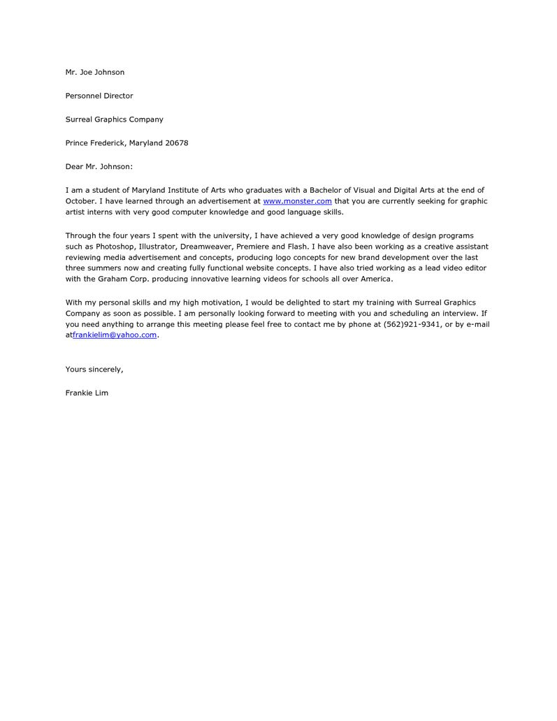 Art Internship Cover Letter from i.pinimg.com