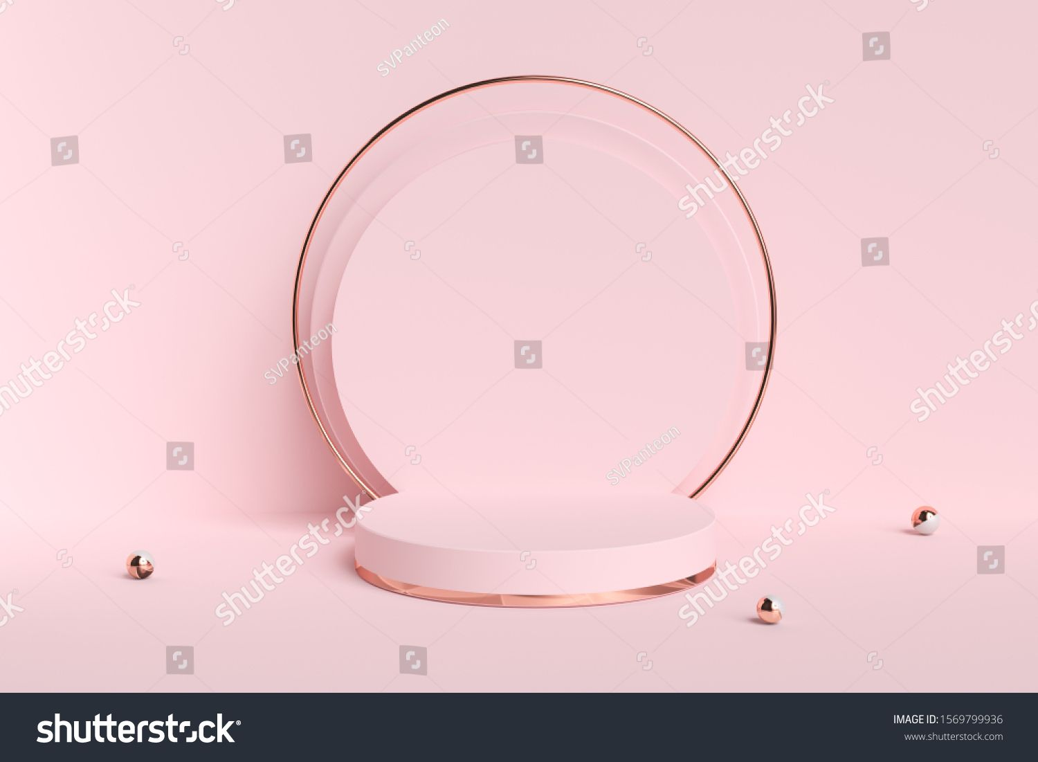 Cosmetic background for product presentation Pink and gold abstract podium 3d illustration