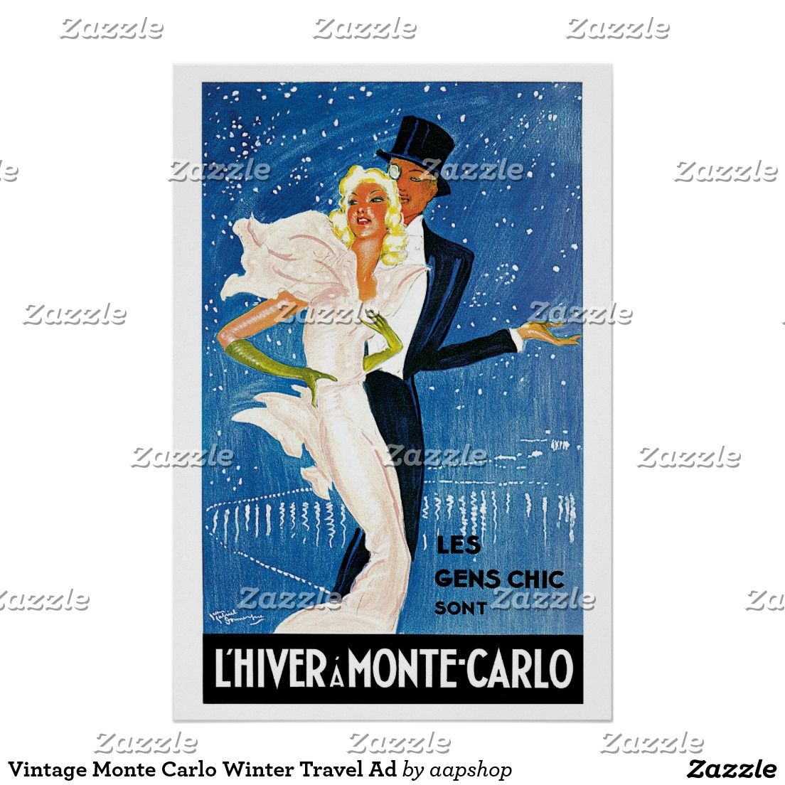 Vintage Monte Carlo Winter Travel Ad Poster | art deco | Pinterest ...