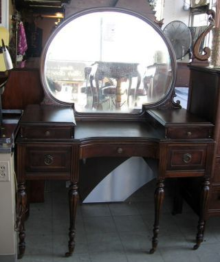 1950 Bedroom Vanity Antique 1920 1930s Regency Style Dresser Desk With Clam Shell