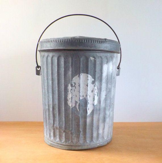 Vintage Galvanized Wheeling Trash Can Small Industrial Rustic