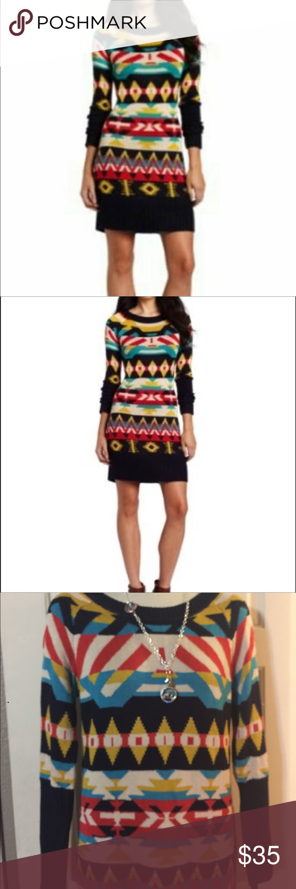 fa9fa95a5e Jessica Simpson Aztec Sweater Dress NWT Jessica Simpson Aztec long sleeve sweater  dress