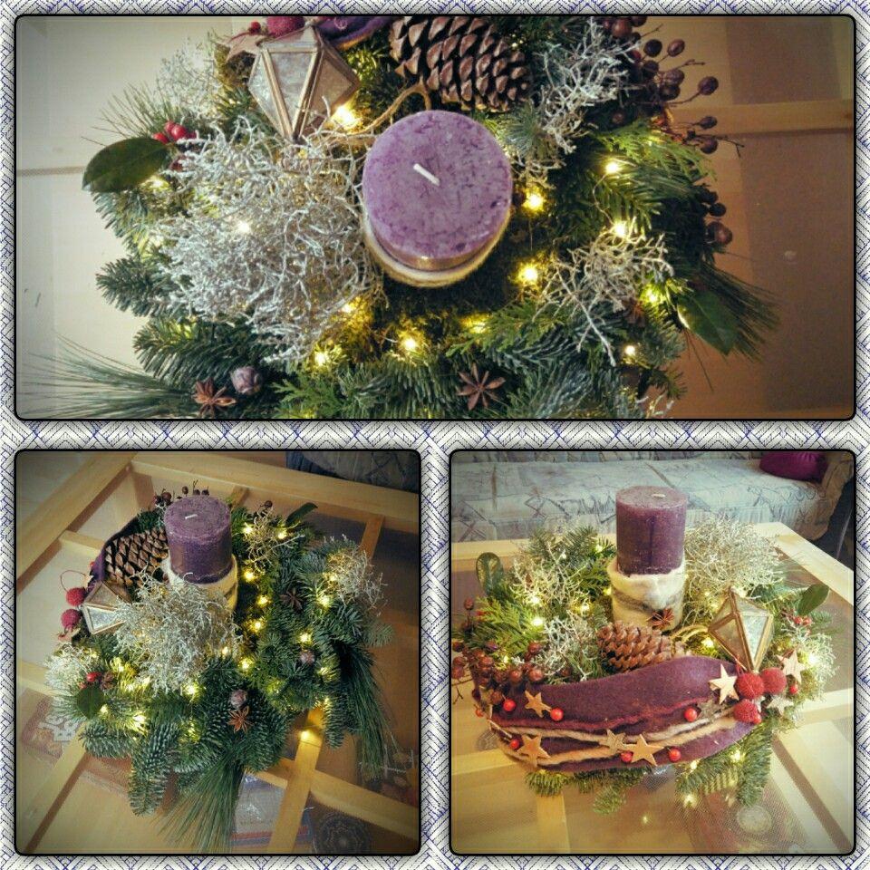 adventskranz violett gesteck tanne weihnachten. Black Bedroom Furniture Sets. Home Design Ideas
