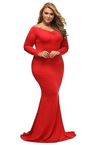 3111fb8a4d Elegant Evening Dresses Full Figured Women Lalagen Women's Plus Size Off  Shoulder Long Sleeve Formal Gown Red. Womens evening gowns for full figured  women.