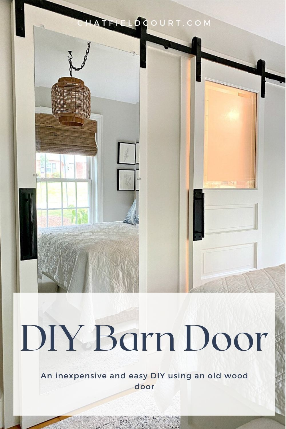 How to make a DIY mirrored barn door for a small closet in a guest bedroom with an old wood closet door and framed leaning mirror.