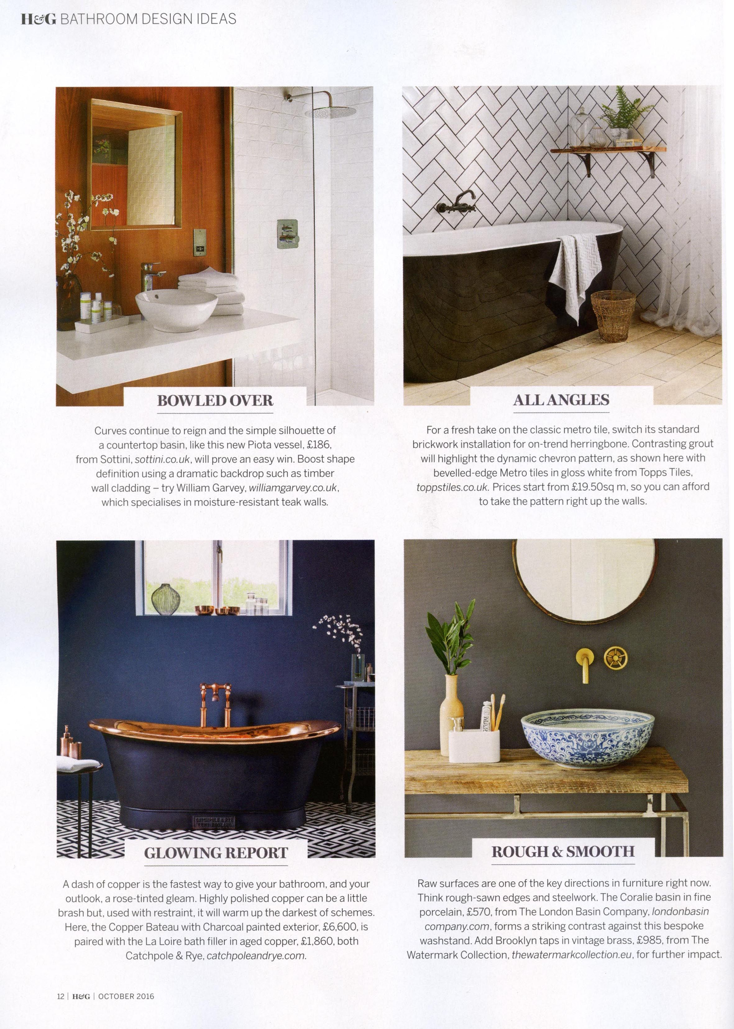 The Brooklyn taps in vintage brass from The Watermark Collection. http://www.thewatermarkcollection.eu/ Homes & Gardens October 2016