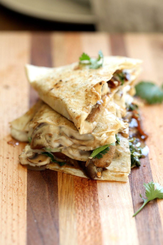 Vegan Mushroom Quesadilla With Cashew Mozzarella