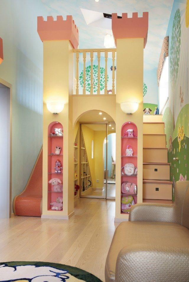 Kinderzimmer Mädchen Einrichten Turm Prinzessin Stauraum