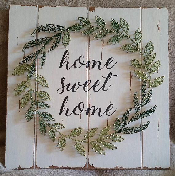 Wreath String Art Home Sweet Home Decor