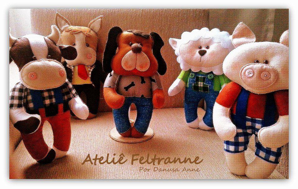 Animais da fazenda em feltro - Ateliê Feltranne