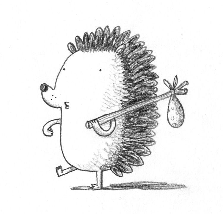 Смешной ежик рисунок карандашом