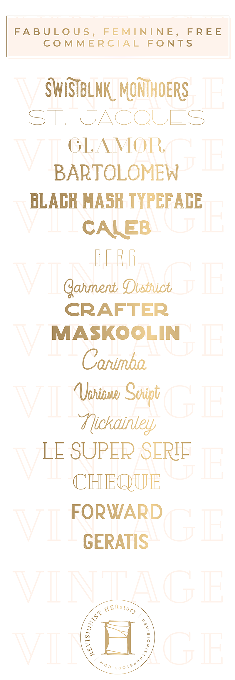 The Best Free Vintage Fonts For Commercial Use In 2018 Vintage Fonts Free Commercial Fonts Commercial Fonts