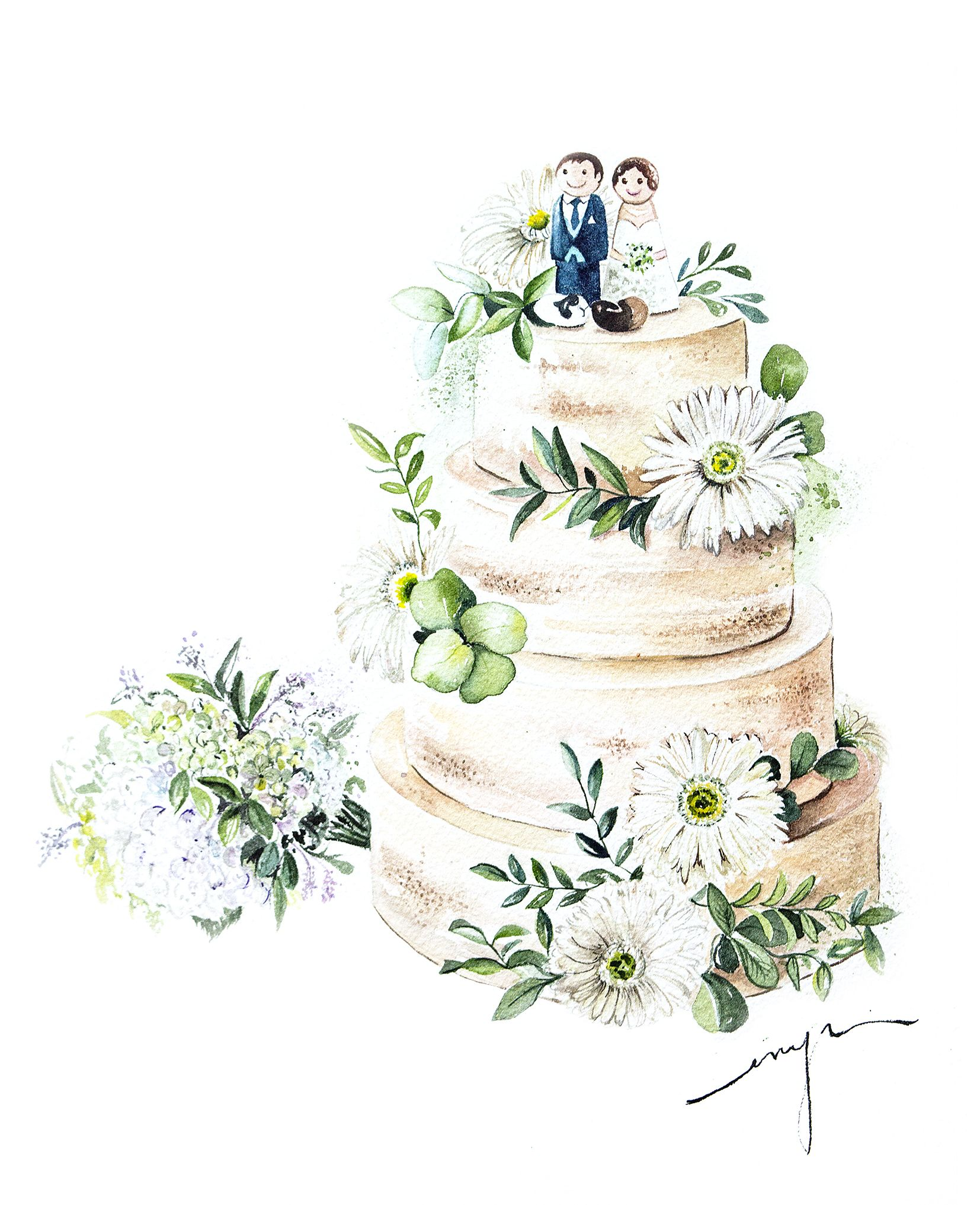 Enya Todd Wedding Cake Illustrations Watercolor Food