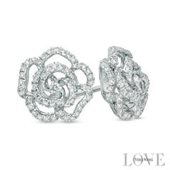 Vera Wang LOVE Collection 13 CT TW Diamond Rose Stud Earrings in