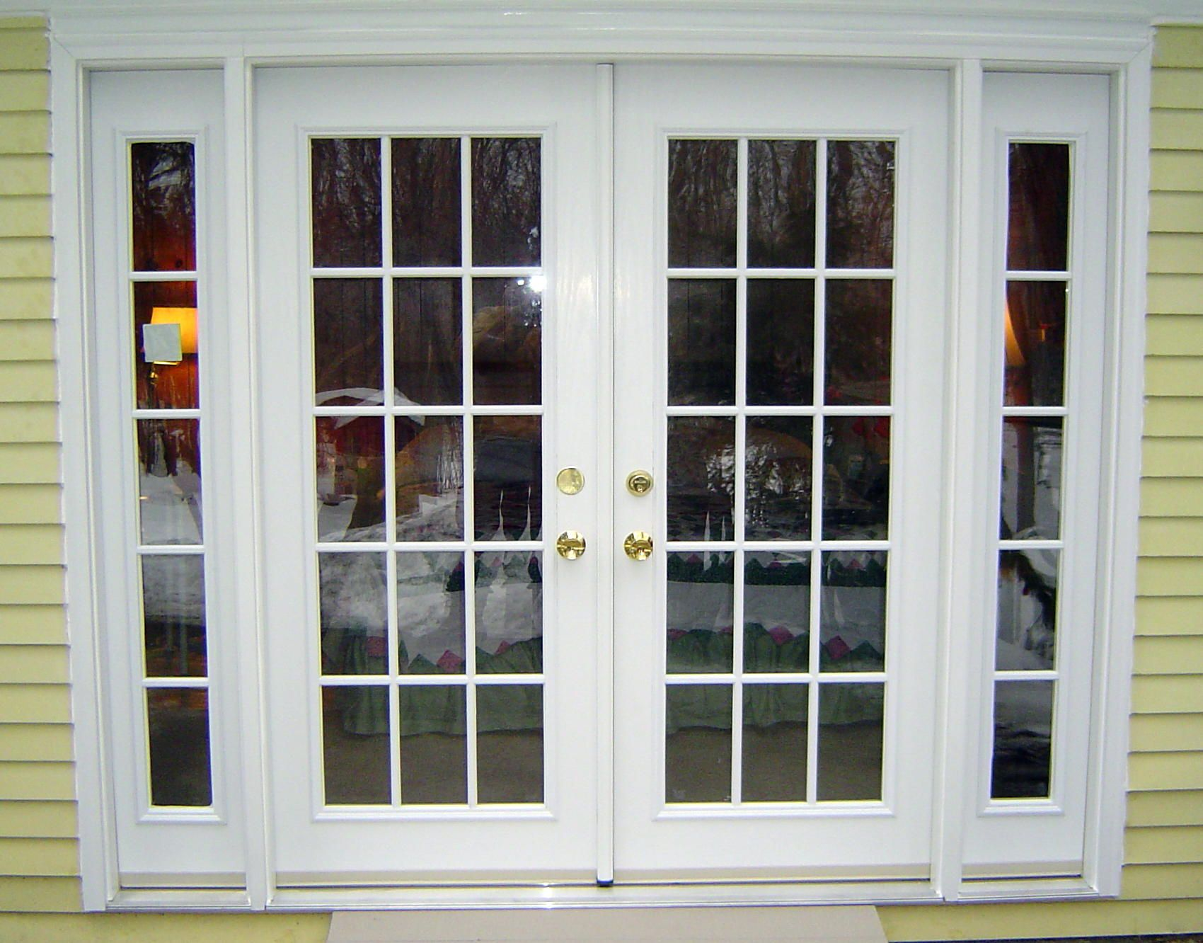Replace a window with a door - Furniture White Color Exterior Wood Double French Doors With Sidelights For Rustic House Design With Light Yellow Wood Wall Painted Exterior Color Decor