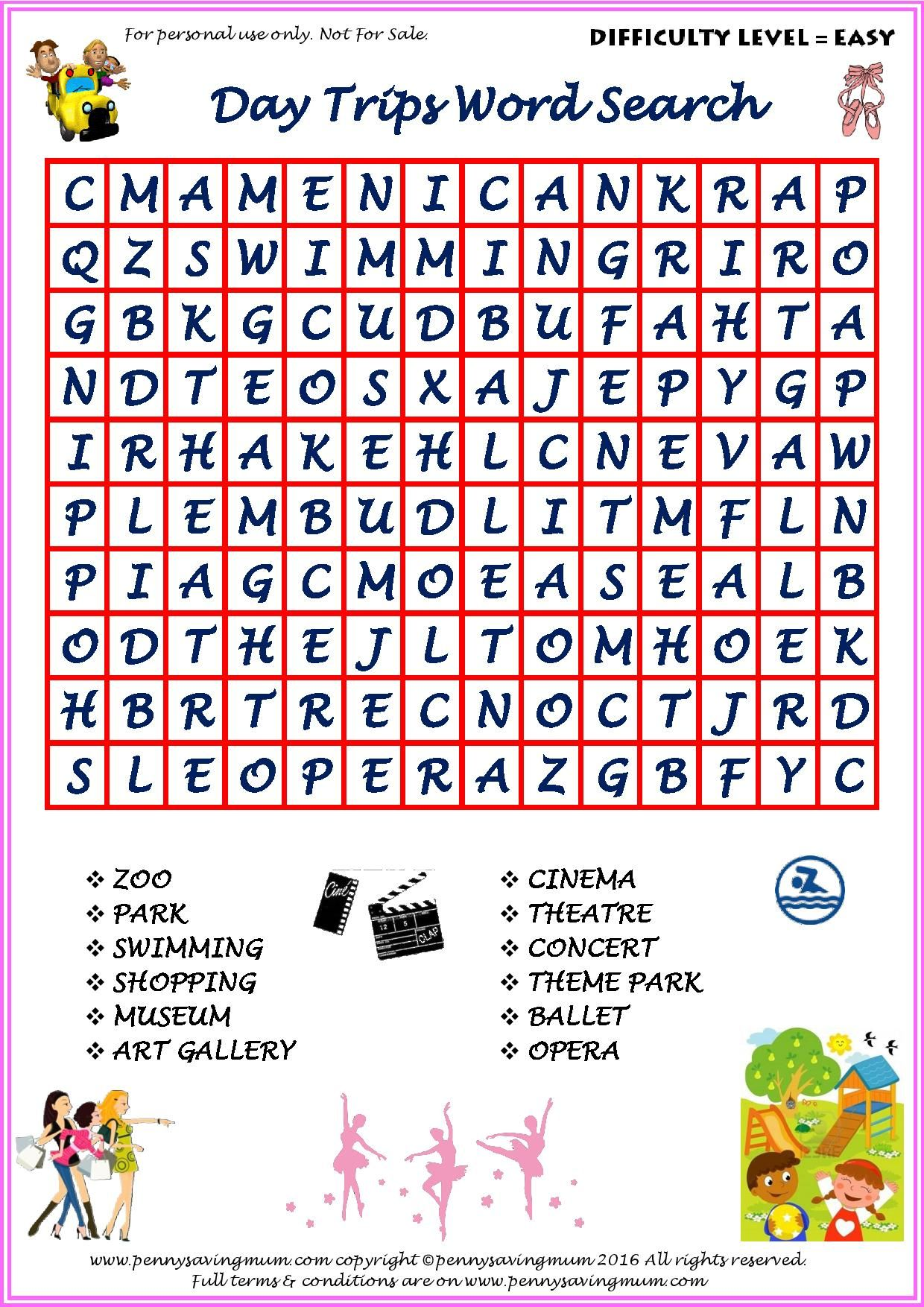 Word Search Day Trips (Easy Version) | Craft Ideas in 2018 ...