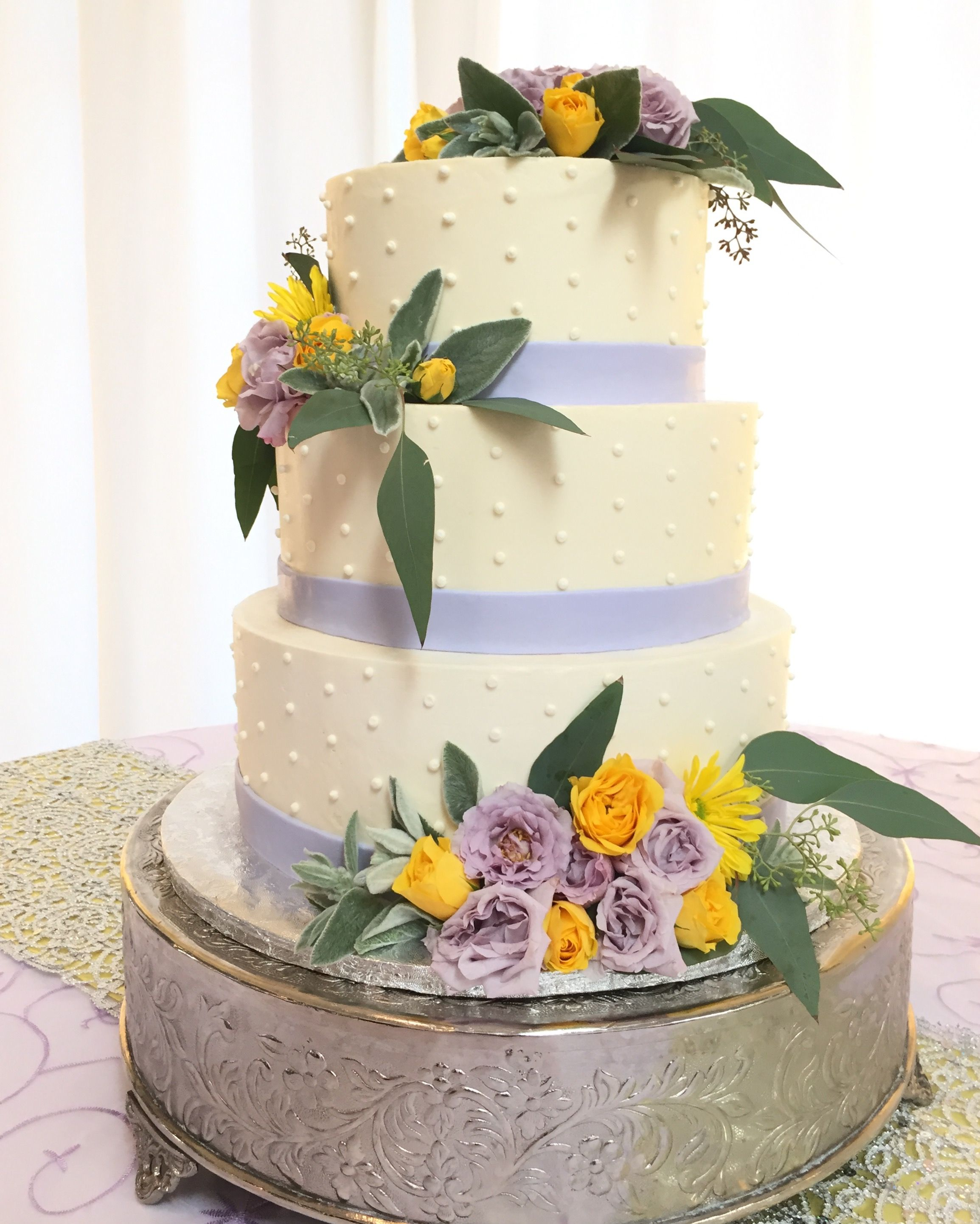 Swiss Meringue Buttercream Wedding Cake With Dot Design And Lavender Fondant Ribbon Venue
