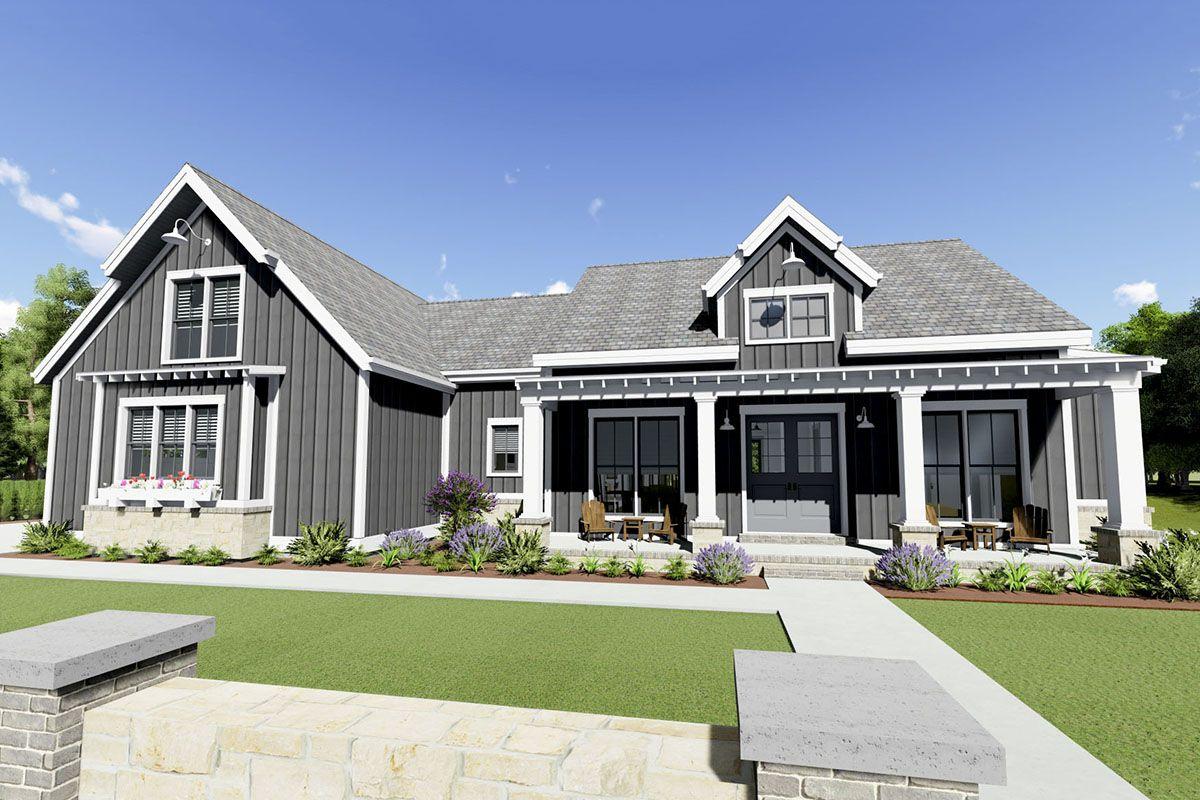 Plan 64471sc Gorgeous Farmhouse Plan For A Rear Sloping Lot Floor Plans In 2019 House Plans Basement House Plans Farmhouse Plans