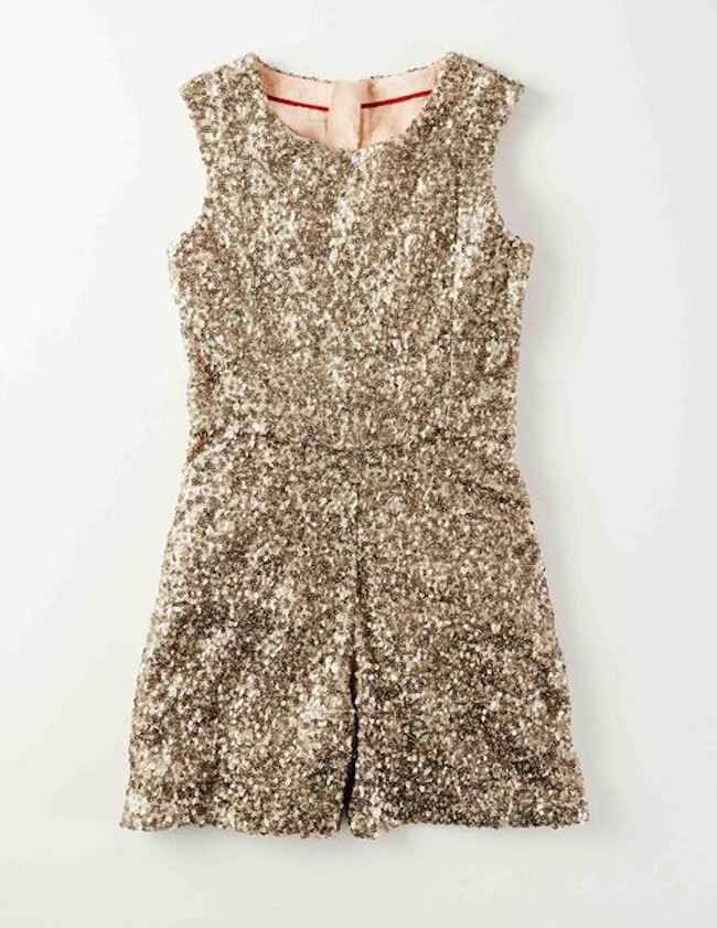 c25d8aaf3088 Best sparkly dresses for the holidays: Go with this cute sequined romper at  Boden as a dress alternative.