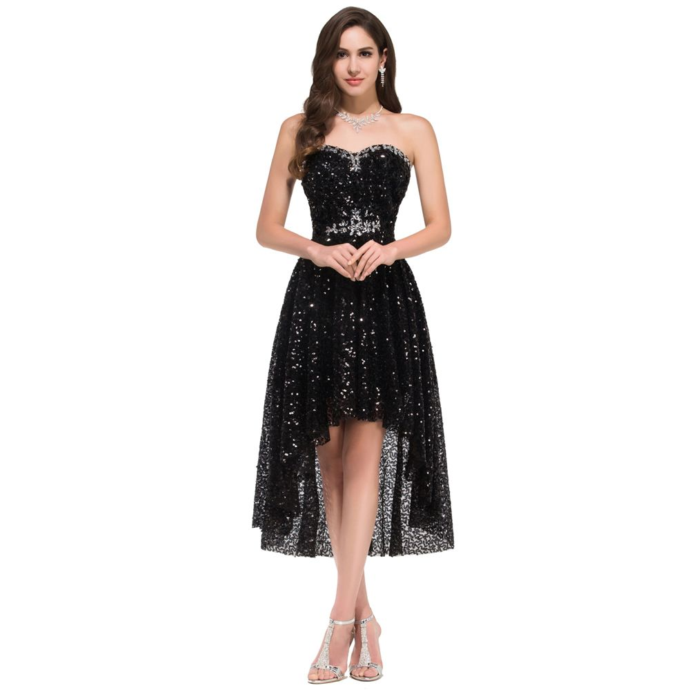 Short black sequin prom dress