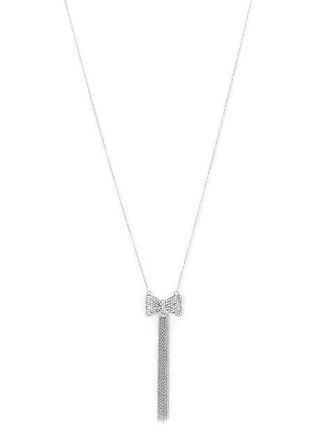 Rhinestone Bow Drop Necklace
