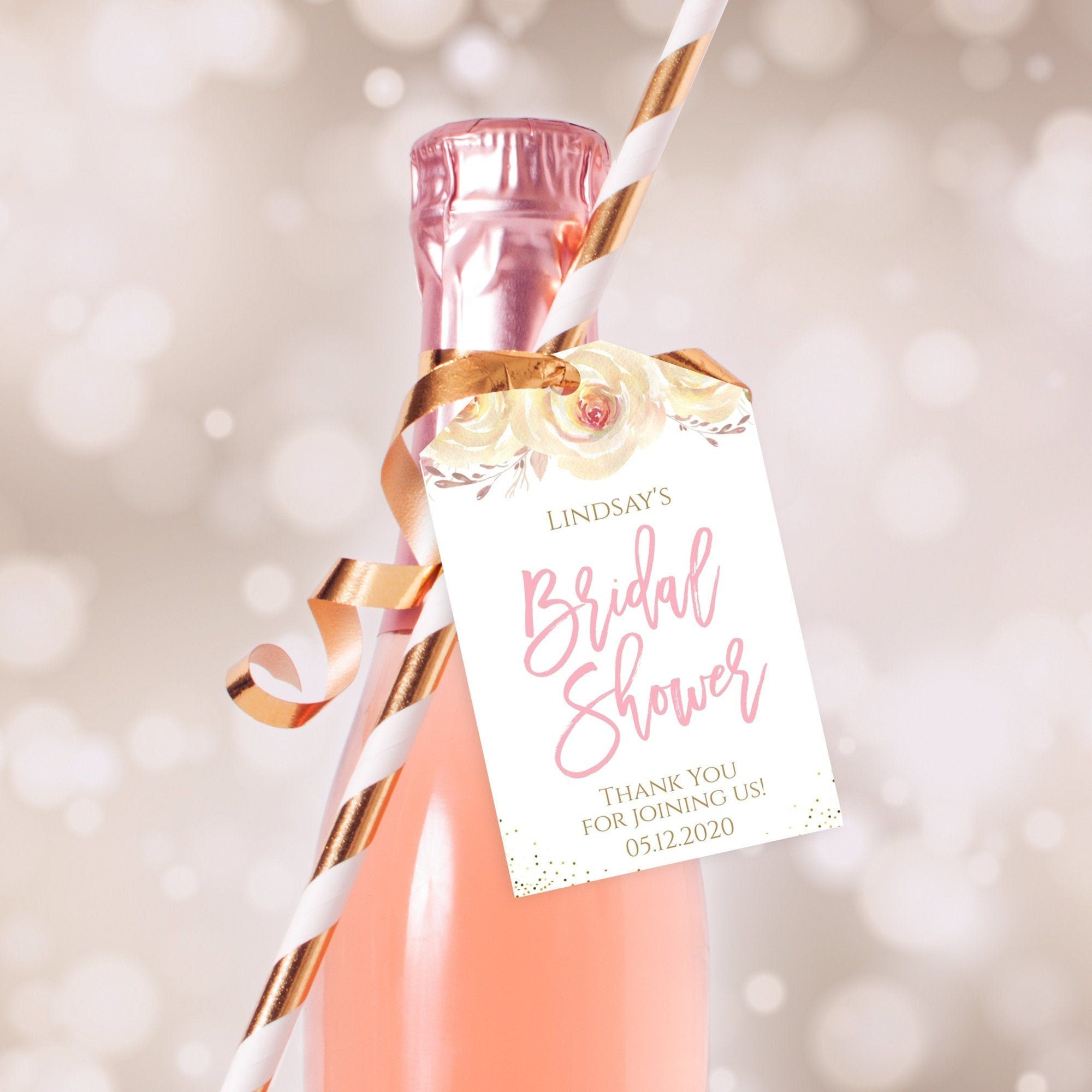 Editable bridal shower thank you tags mini wine champagne