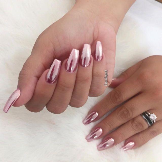 Lujoso Rosa Uñas Metálicos Friso - Ideas de Diseño de Arte de Uñas ...