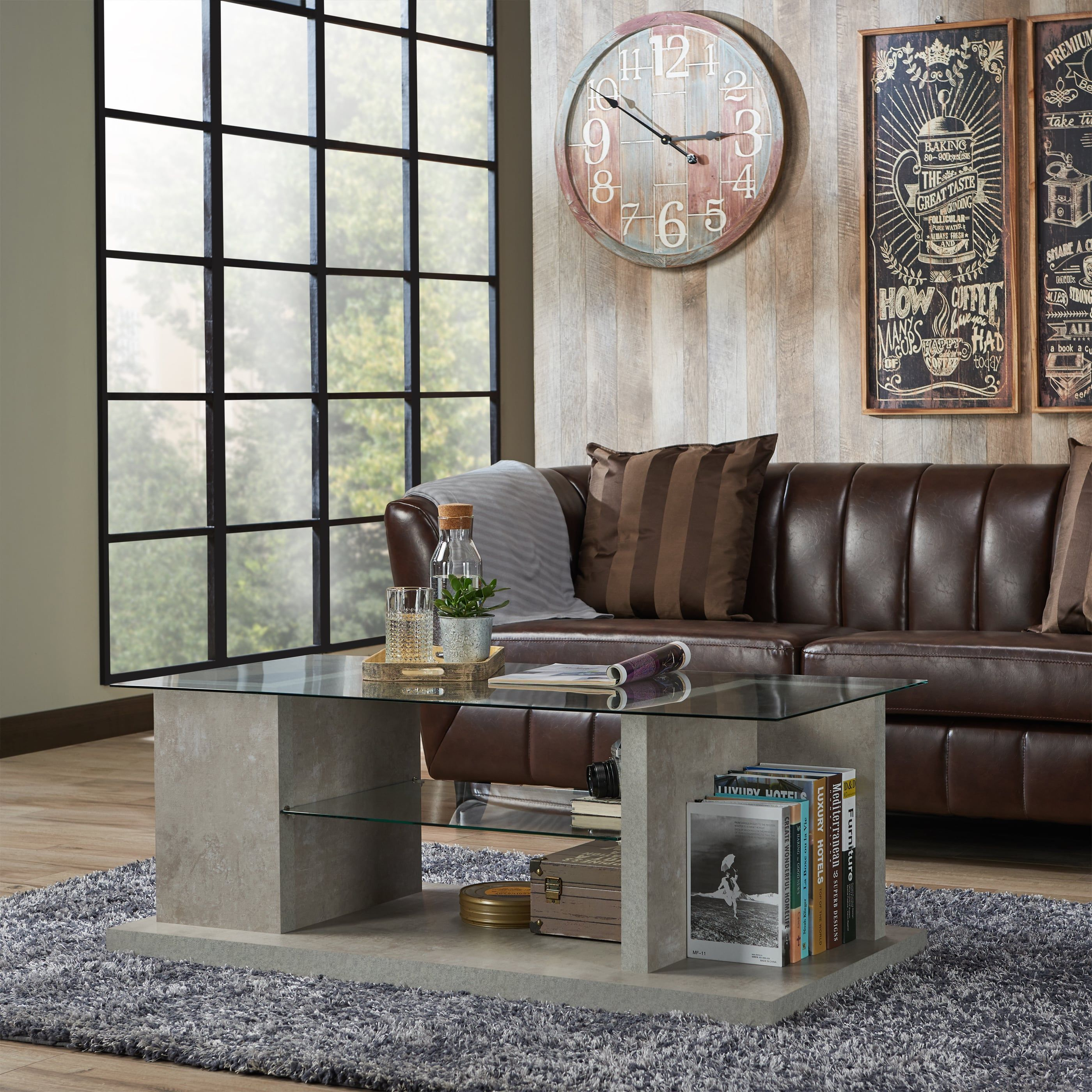 Furniture of America Pilar Modern Industrial Style Glass Top Coffee Table