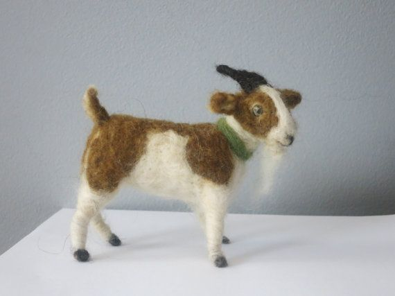 needle felted goat by woolinlegends on Etsy, $32.00