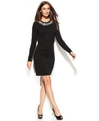 07fe9956d546 Ring in the New Year with this jeweled collared sweater dress by Michael  Kors