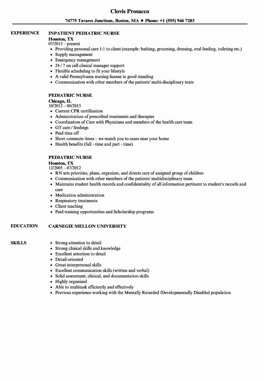 Home Health Nursing Resume Unique Pediatric Nurse Resume