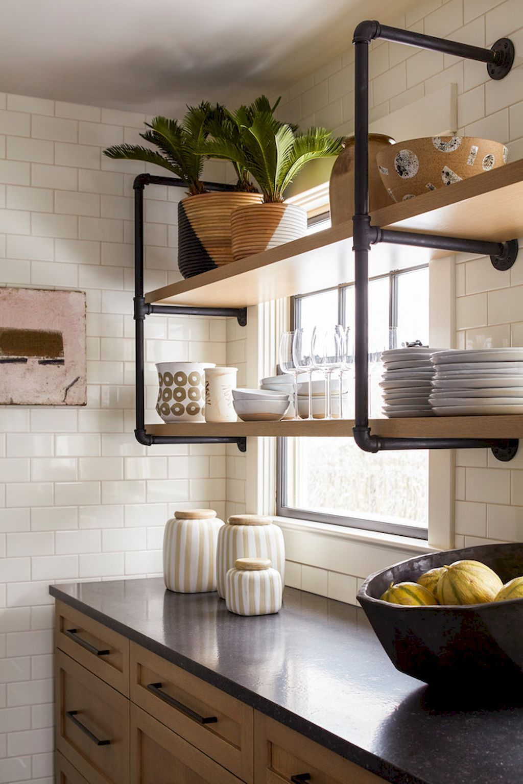 easy kitchen organization with open shelving ideas shelving