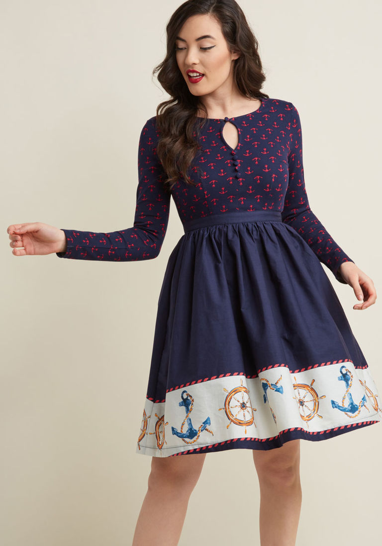 b05ade9d0215 Twofer Long Sleeve Dress in Nautical in XS - Knee Length by ModCloth ...