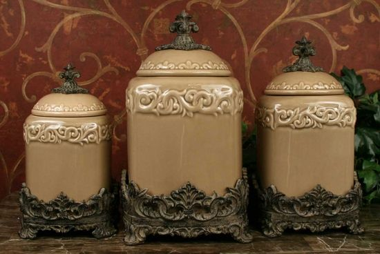 Ordinaire Store SearchHome U003e Kitchen Accessories U003e Decorative Kitchen Canister Sets U003e  Drake Design Taupe Fleur De Lis Large Kitchen Canister Set Of 3 (Top  Seller) ...