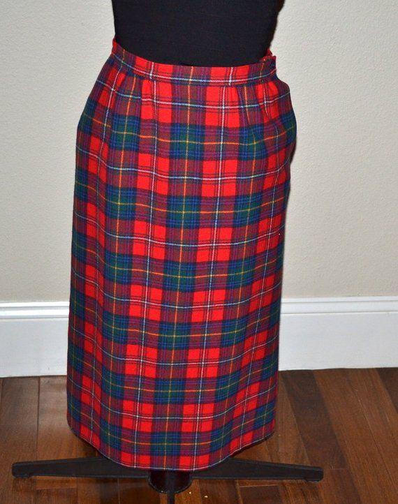 9ed0c81a16 Vintage Pendleton Plaid midi virgin wool Skirt Norman 70's skirt size 6  Fall winter fashion.