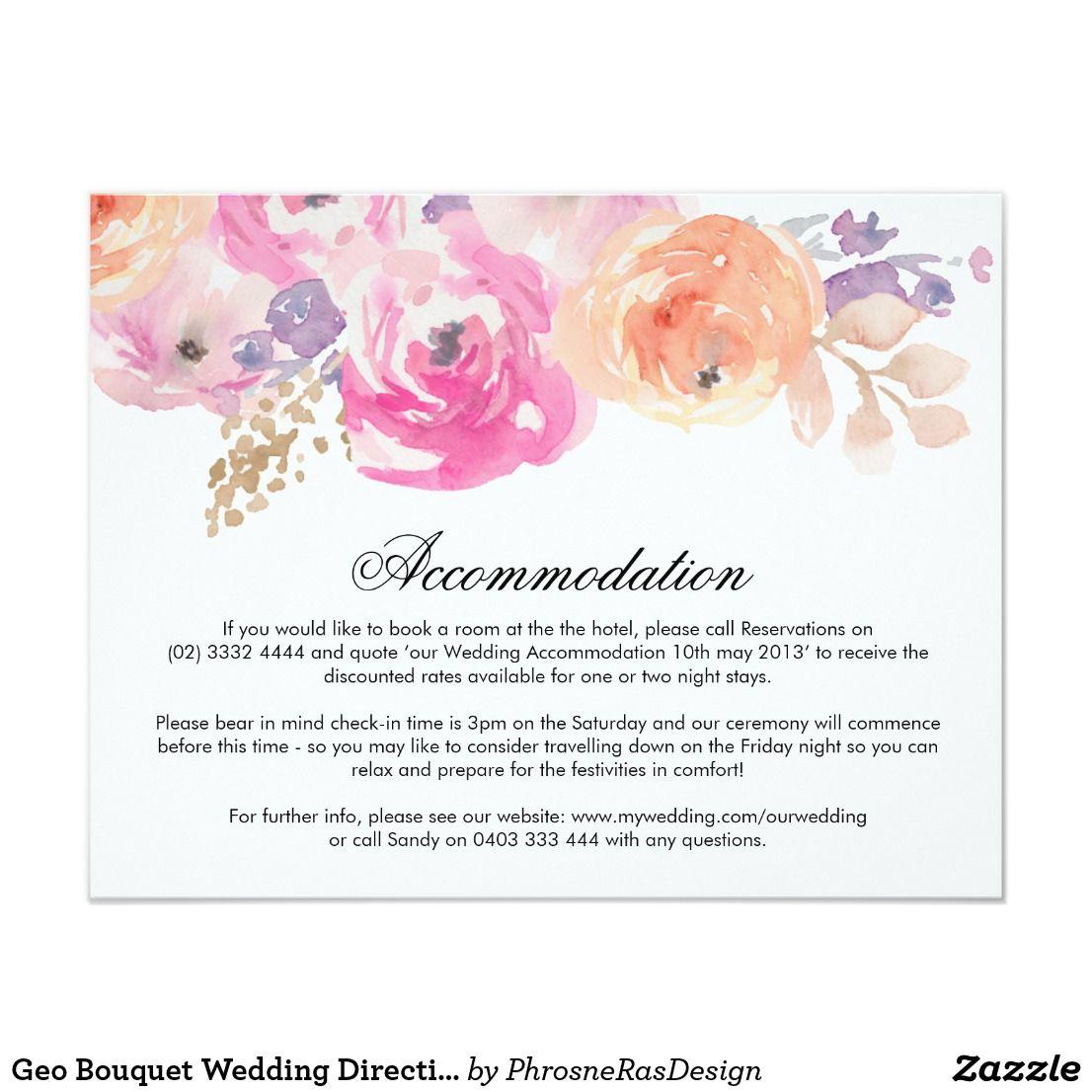 Geo Bouquet Wedding Direction Card Pastel Wedding Direction Cards