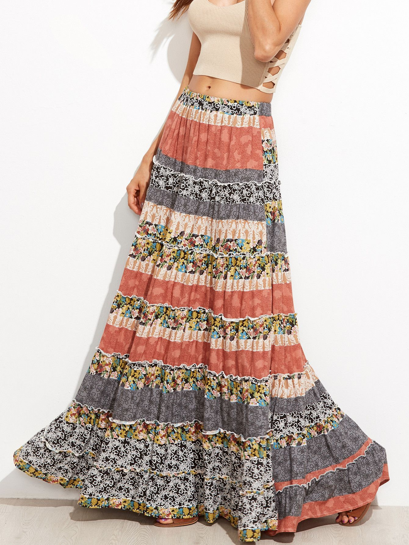 Floral boho maxi skirt summer patterns ruffle dress and silhouettes