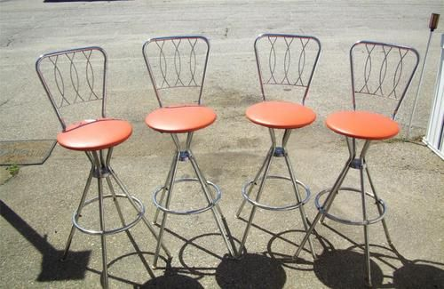 Vintage Set 4 Orange Retro Swivel Chrome Round Bar Stools Or