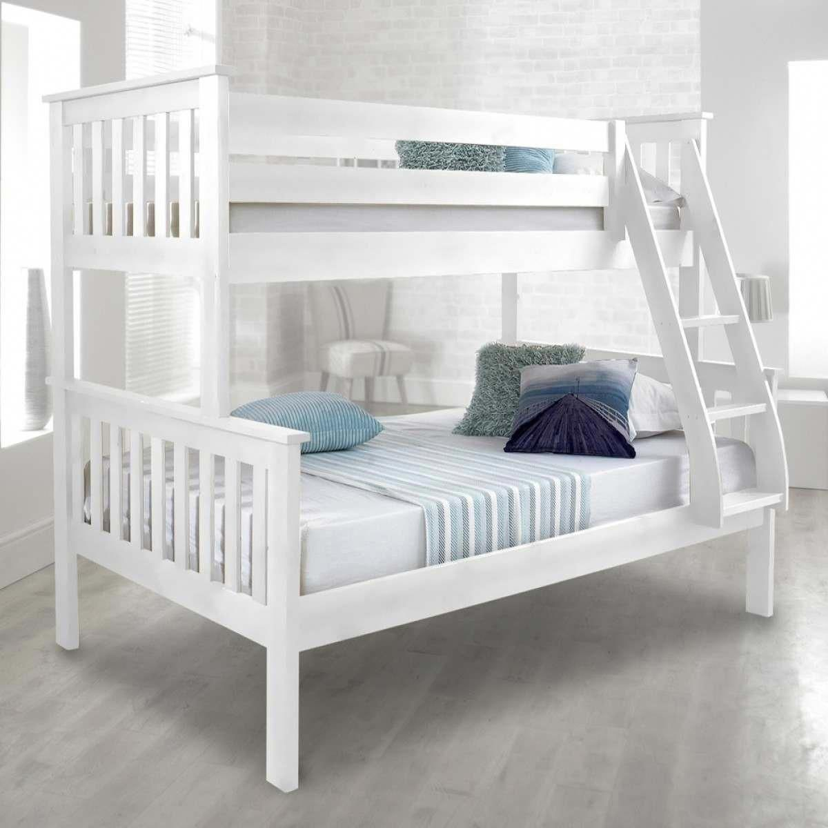 Loft bed with slide building plans  Atlantis White Finish Solid Pine Wooden Triple Sleeper Bunk Bed