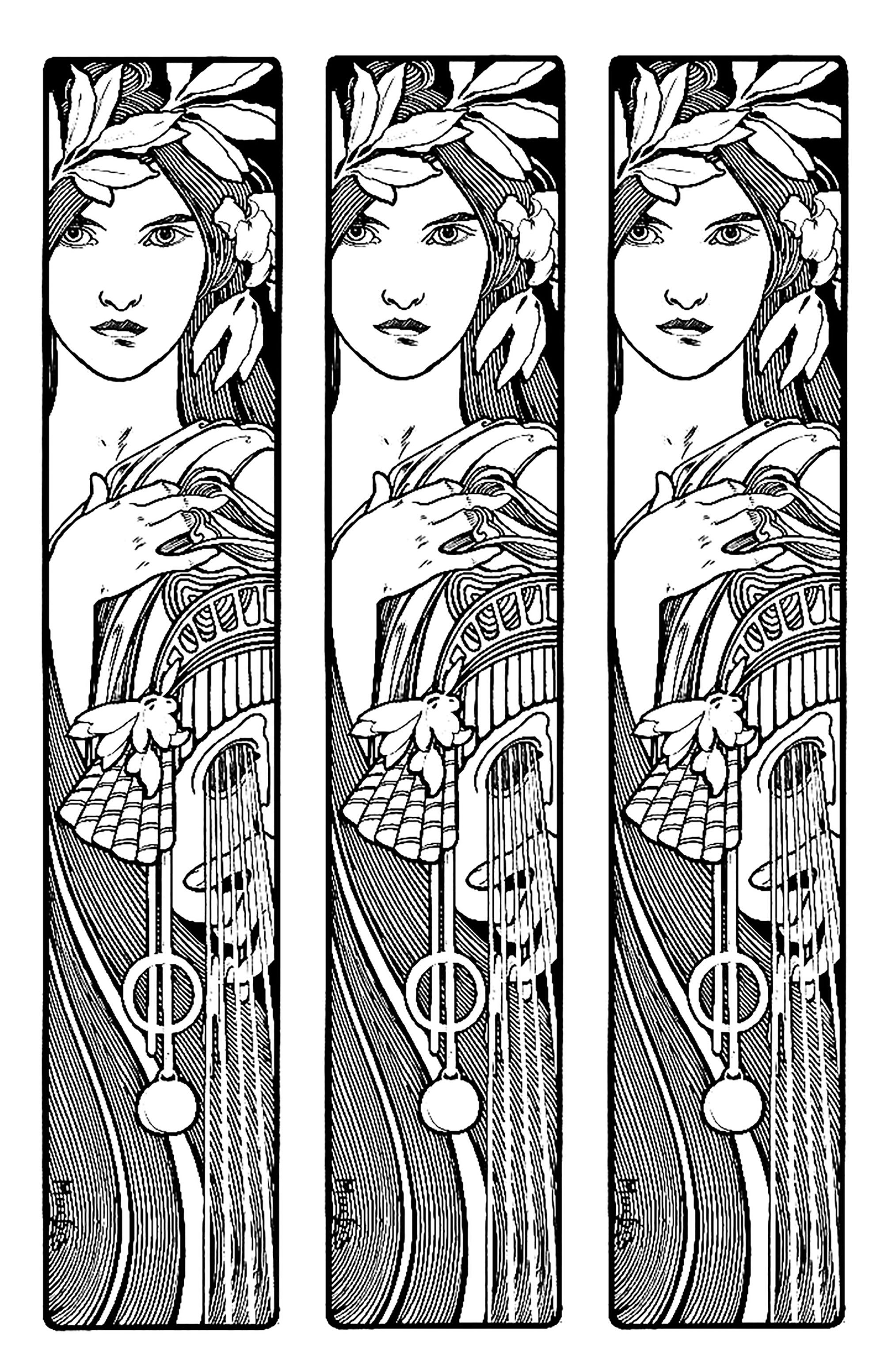 Mucha Triptych Art Nouveau Coloring Pages For Adults Just