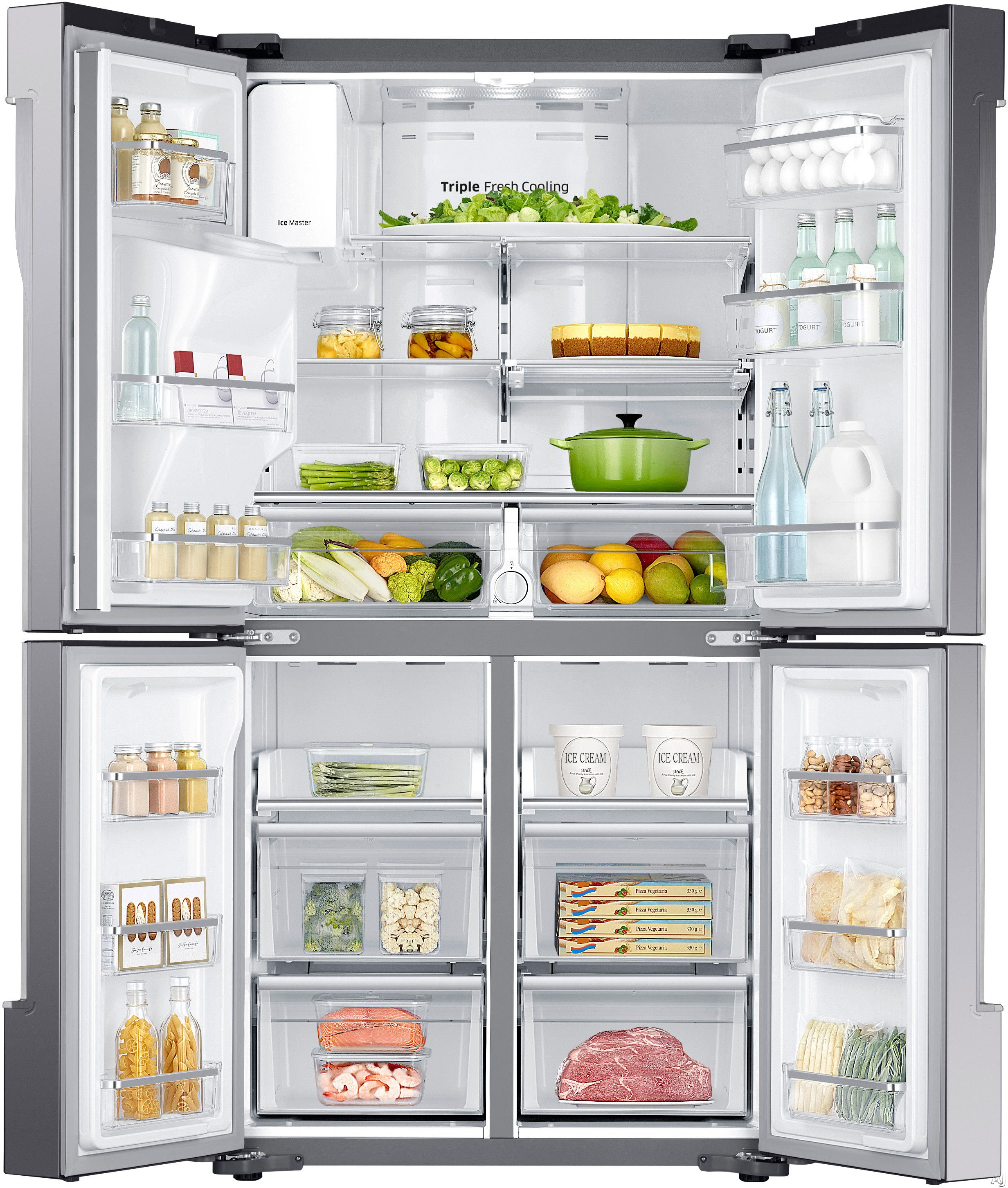 Counter Depth French Door Refrigerator With Spill Proof Glass Shelves, Triple Cooling