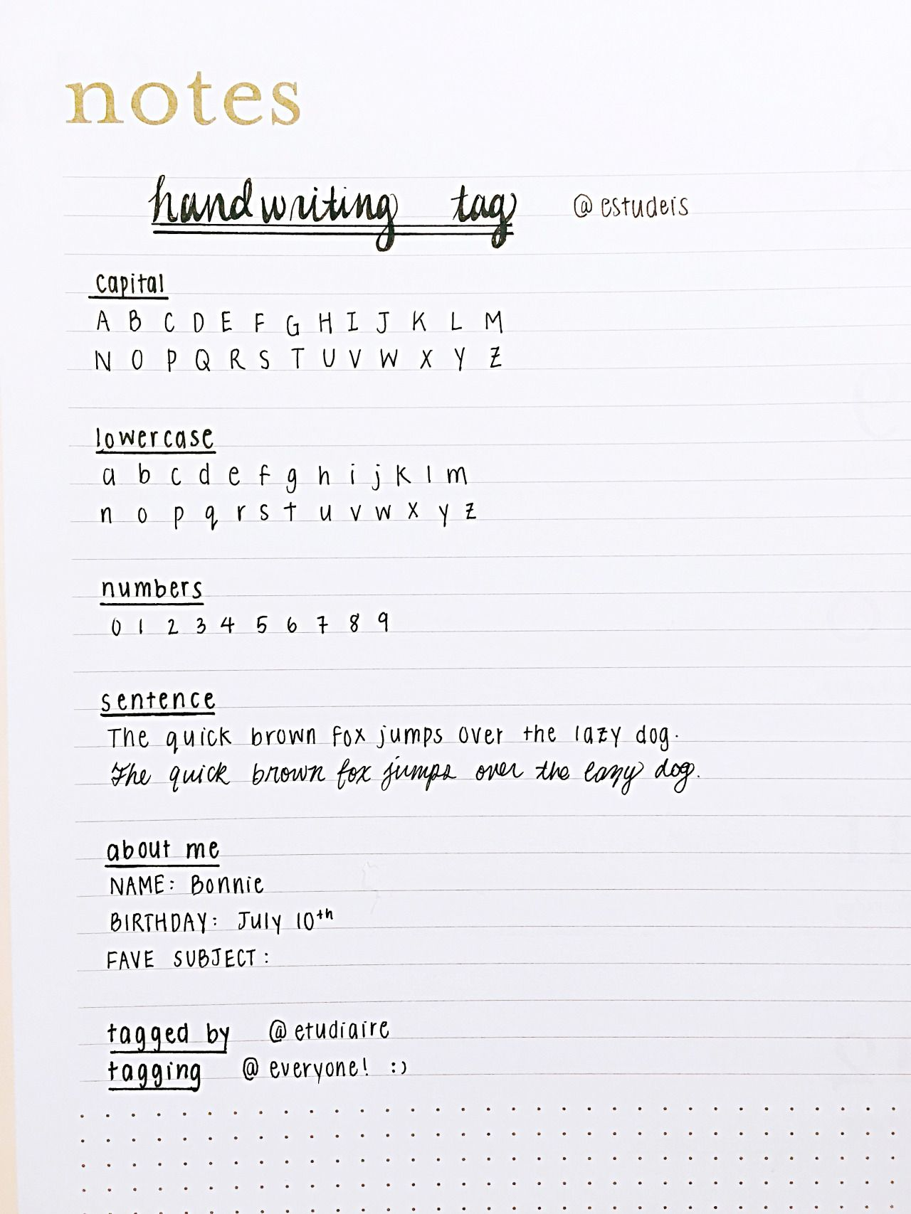 Estudeis Handwriting Tag Tagged By Etudiaire