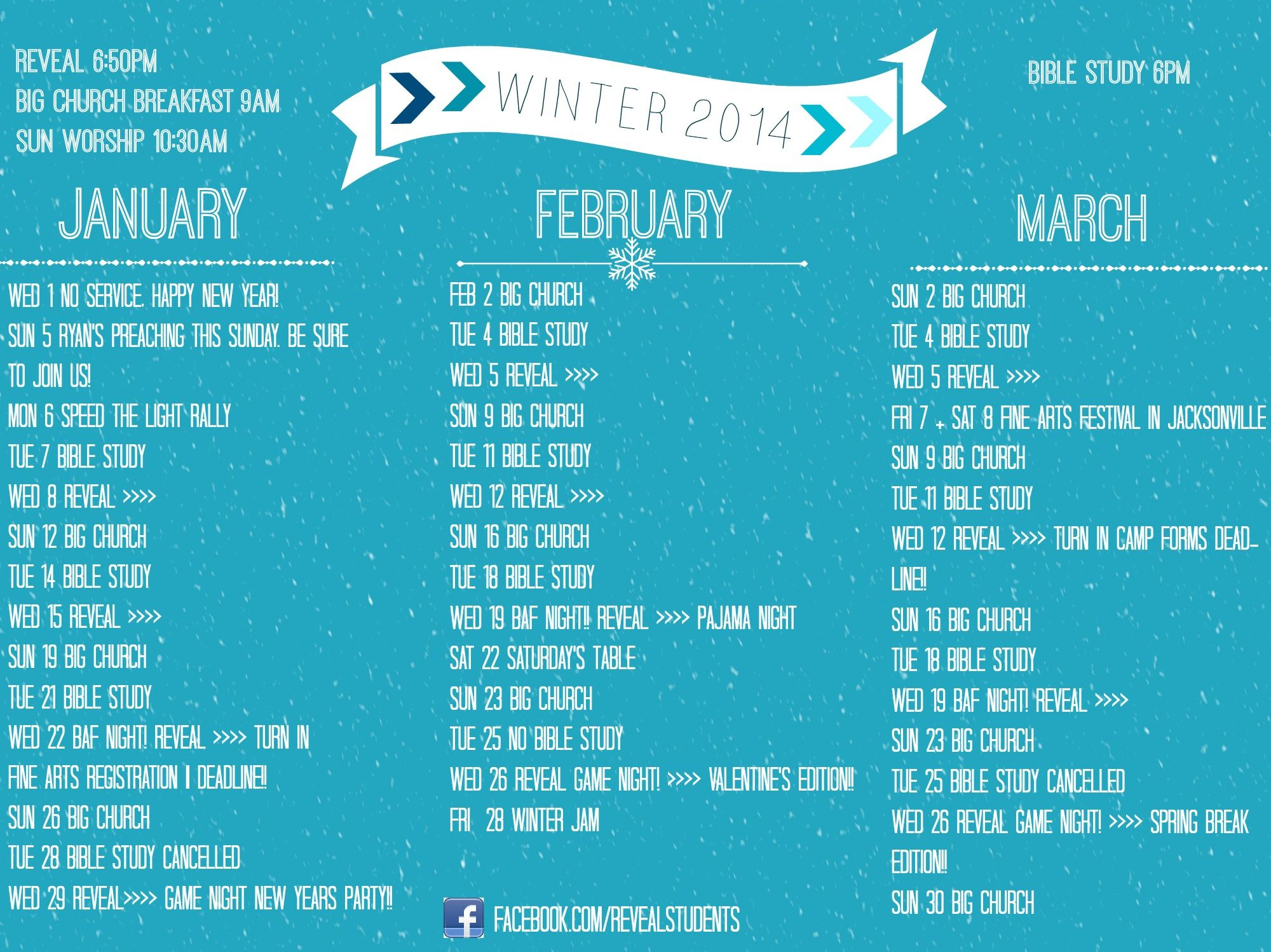 Youth Ministry Calendar Ideas : Reveal youth winter calendar inspired by trinity student
