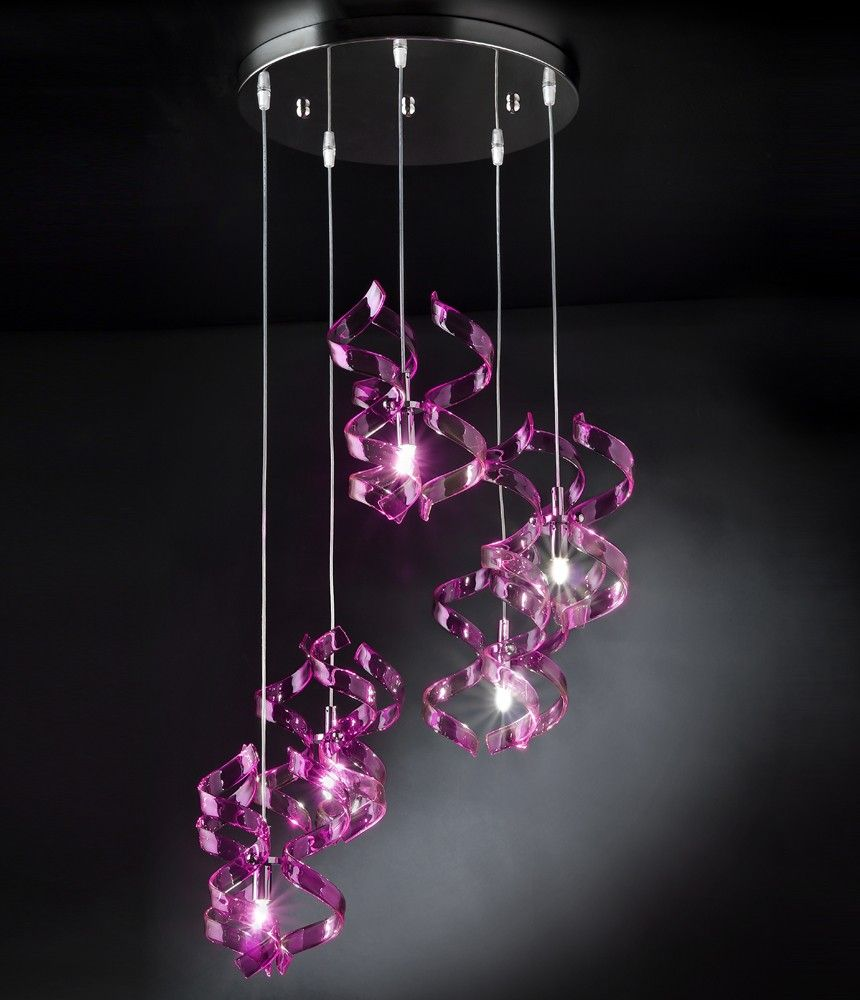 Pendant lamp with purple crystal glasses available in colors