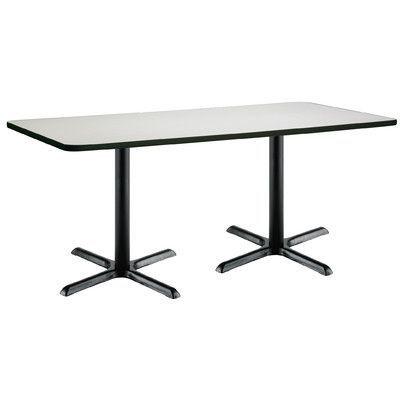"KFI Seating 72"" x 30""  X-Base Pedestal Table Size: 29"" H x 30"" W x 72"" L, Top Finish: Crisp Linen, Base Finish: Black"